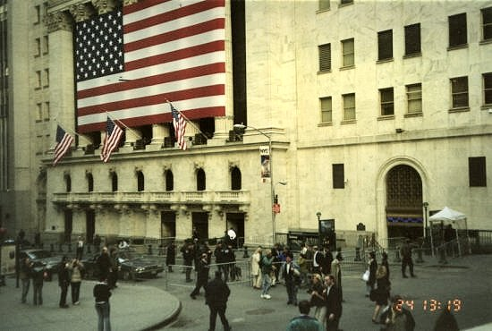 John (blue coat mid foreground) at New York Stock Exchange. April 2003.