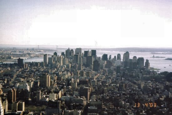 "A favorite moment shared with Miss Van-dung Lee. Manhattan with no ""twin towers""; taken from the Empire State Building."