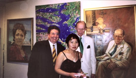 Award winning portrait of Lyenko, the artist Ms. Bing Wu and the subject.  Salon des Refuse  portrait award ceremony March 2003.  Bing holding the cheque.